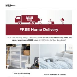 [Muji] MUJI Free Home Delivery Ending 28 Feb!