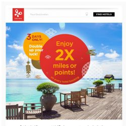 [Kaligo] 3-DAYS ONLY! Enjoy double miles/points on all hotel bookings!