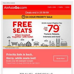 [AirAsiaGo] 🎉 Here's Your Priority Access! Book your FREE SEATS here!  🎉