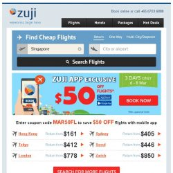 [Zuji] BQ.sg: $50 OFF Flight ZUJI Flash Sale. App Exclusive!