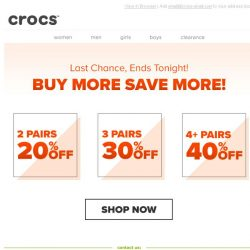 [Crocs Singapore] Last Chance to Spend & Save up to 40% off! Ends Tonight!