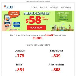 [Zuji] Europe Flash Sale! Get $58 off coupon to European cities