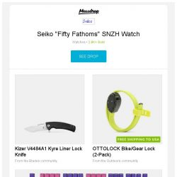 """[Massdrop] Seiko """"Fifty Fathoms"""" SNZH Watch, Kizer V4484A1 Kyre Liner Lock Knife, OTTOLOCK Bike/Gear Lock (2-Pack) and more..."""