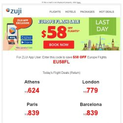 [Zuji] Hurry! Europe Flight Sale final few hours!