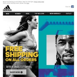 [Adidas] Limited Time Only: Free Delivery On All Orders