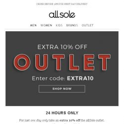 [Allsole] Extra 10% off OUTLET   24 hours only!