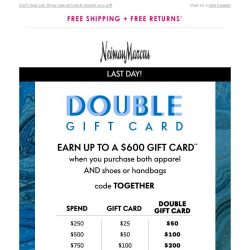 [Neiman Marcus] Final day! Get your $50 gift card