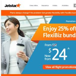 [Jetstar] 3 days only! 25% OFF FlexiBiz bundle when you book your next holiday.