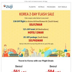 [Zuji] Happy mid-week! KOREA FLASH SALE!!! 【2 Days only】