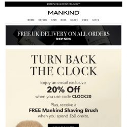 [Mankind] LAST CHANCE: 20% Off Inside + Free Gift