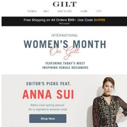 [Gilt] Editors' Picks: Women's Month with Anna Sui