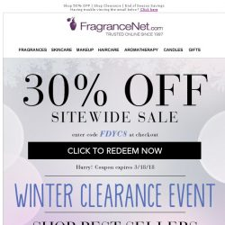 [FragranceNet] 📢 A surprise  Winter Clearance event happening now! Get up to 80% off