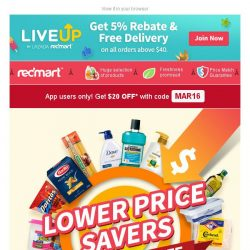 [Redmart] $20 OFF with $40 spent... Grab it fast!