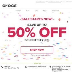 [Crocs Singapore] Stock up on Crocs! Mid Season Sale starts now - Up to 50% OFF!