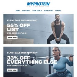 [MyProtein] [ENDS SOON] 55% Off Selected Bestsellers