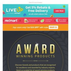 [Redmart] $20 to spend on award winning products! 🏆