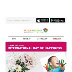 [Floweradvisor] HAPPY INTERNATIONAL DAY OF HAPPINESS. Let's Make A Smile Today!