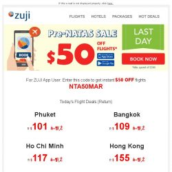 [Zuji] BQ.sg, Last Day! Pre-NATAS SALE + $50 OFF Flights
