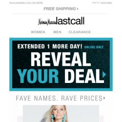 [Last Call] ⏳ Time is running out to reveal your deal & save on fave names!