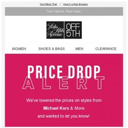[Saks OFF 5th] PRICE DROP alert: styles from Michael Kors & More