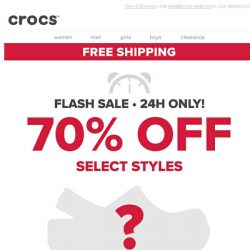 [Crocs Singapore] 🚨 FLASH SALE - 24 Hours Only! Enjoy 70% OFF + FREE SHIPPING! 🚨