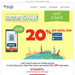 [Zuji] BQ.sg, 20% OFF Hotels - NATAS FLASH SALE
