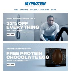 [MyProtein] Beat the Monday Blues! First 100 Get 33% Off