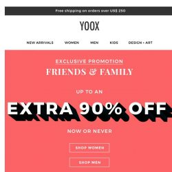 [Yoox] Now or never: up to an EXTRA 90% OFF
