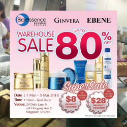 Bio-essence: Warehouse Sale 2018 with Up to 80% OFF Bio-essence, Ginvera & Ebene Products