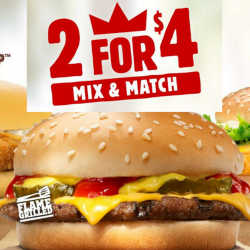 Burger King: Enjoy Any 2 Burgers for only $4!