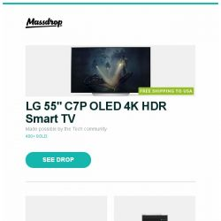 """[Massdrop] LG 55"""" C7P OLED 4K HDR Smart TV, Vortex VIBE Mechanical Keyboard, Acoustic Research AR-M20 Digital Audio Player and more..."""