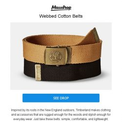 [Massdrop] Timberland Belts: Finish Off Your Casual Outfits for $18.99 Per 2-Pack