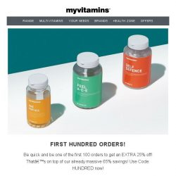 [MyVitamins] First Come First Serve   Extra 25% off