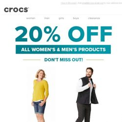 [Crocs Singapore] Limited time offer - Save 20% off all women's & men's styles!