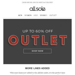 [Allsole] OUTLET | More lines added
