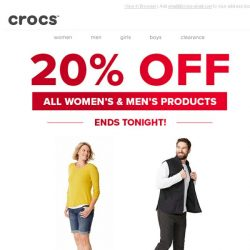 [Crocs Singapore] Ends Tonight - All styles for women & men 20% OFF!