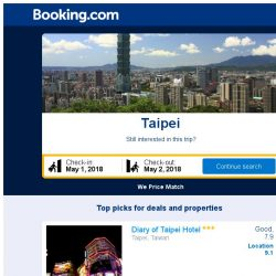 [Booking.com] Deals in Taipei from S$ 25