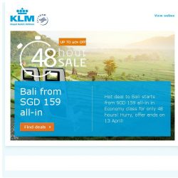 [KLM] 48-hour Hot Deal to Bali from SGD 159!