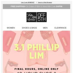 [Saks OFF 5th] PRICE DROP alert for your Rainforest item! + Sale-ing away: EXTRA 20% OFF shoes & handbags