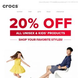 [Crocs Singapore] Deal you'll love - 20% OFF all Unisex and Kids' styles