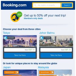 [Booking.com] Tokyo and Johor Bahru – great last-minute deals from S$ 25