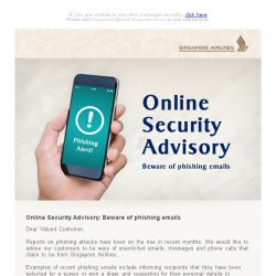 [Singapore Airlines] Online Security Advisory: Beware of phishing emails