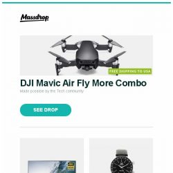 """[Massdrop] DJI Mavic Air Fly More Combo, Sony 75"""" 4K Ultra HDR Smart TVs, Vostok-Europe GAZ-Limo Dual Time Automatic Watch and more..."""