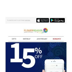 [Floweradvisor] Happy Sunday! How About 15% OFF for You to Start A New Week?