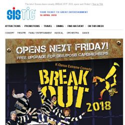[SISTIC] The latest Korean dance comedy, BREAK OUT 2018, opens next Friday!
