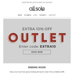 [Allsole] Act fast, your extra 10% off ends tomorrow!