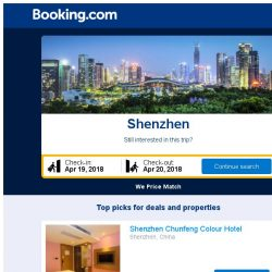 [Booking.com] Deals in Shenzhen from S$ 13