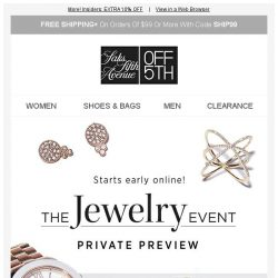 [Saks OFF 5th] Up to 60% OFF jewelry starts early online! + Limited-quantity Saks Fifth Avenue styles!