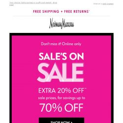 [Neiman Marcus] 2 offers: Extra 20% off Sale OR $50 gift card