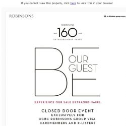 [Robinsons]  Join the Robinsons Closed Door Event - Up to 60% off!